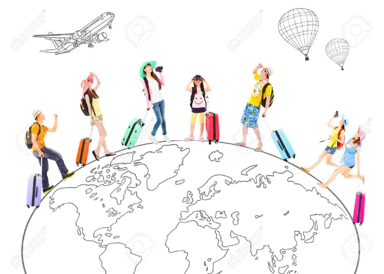 persone-di-viaggio-in-tutto-il-mondo-e-mappa-concettuale-globale-Archivio- Fotografico 5481eb3ba8f0
